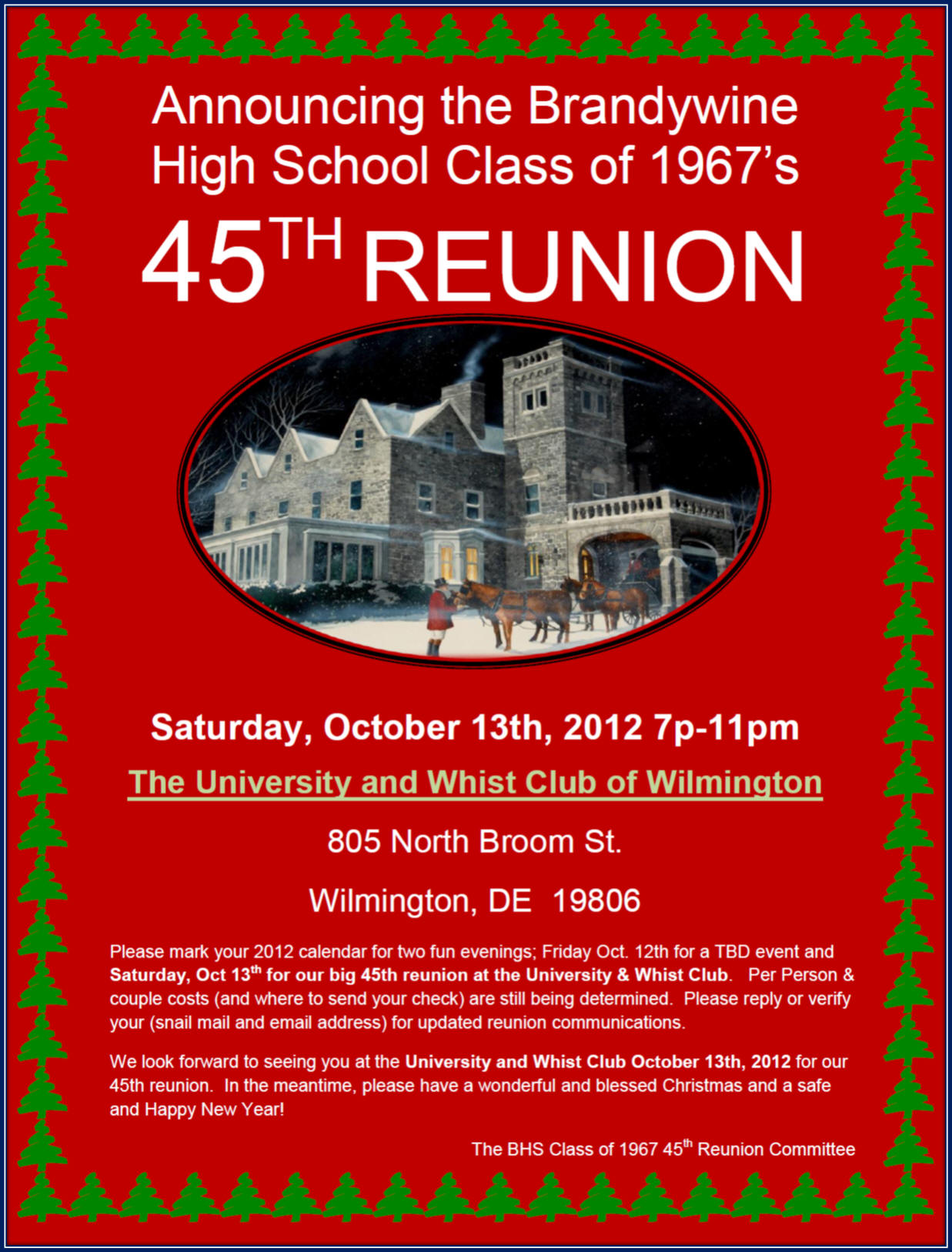 Reunion invitation samples and registration forms save the date 2012 45th reunion 4 stopboris Image collections